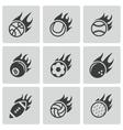 black fire sport balls icons set vector image