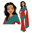 cute indian woman wearing a beautiful saree eps10 vector image