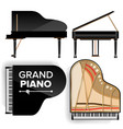 black grand piano set icon with shadow vector image