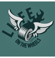 A Wheel With Wings And A Fire Life On The Wheels vector image vector image