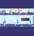 airport passengers travellers in terminal vector image vector image