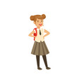 beautiful girl character in school uniform with vector image vector image