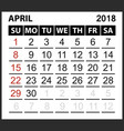 calendar sheet april 2018 vector image vector image