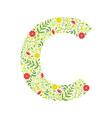 capital letter c green floral alphabet element vector image vector image