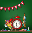 cartoon alarm clock with school supplies vector image