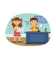 child washes dishes vector image
