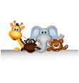 cute wild animal cartoon posing with blank sign vector image vector image