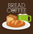 delicious breads and coffee label vector image