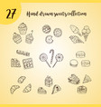 doodle icon set with sweets vector image