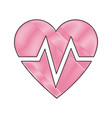 drawing heart beat health care medical vector image vector image