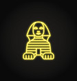 egyptian sphinx icon in glowing neon style vector image vector image