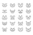 Halloween face thin line icon set editable stroke
