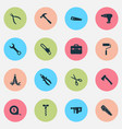 handtools icons set collection of handsaw cutter vector image vector image