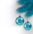 Hanging Christmas glass balls on fir twigs vector image vector image