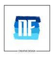initial nf letter logo template design vector image
