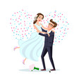 jump marriage of happy couple isolated on heart vector image vector image