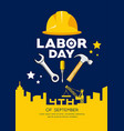 labor day engineer cap with wrench hammer vector image vector image