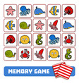 memory game for children cards with sea animals vector image vector image