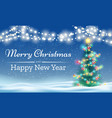 merry christmas tree outdoor background vector image
