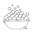 monochrome silhouette with bowl and soap bubbles vector image