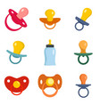 pacifier baby care newborn icons set flat style vector image