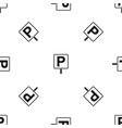 parking sign pattern seamless black vector image vector image