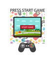 press start game playing tv game background vector image vector image