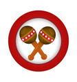 red circle with pair of maracas vector image vector image