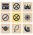 religion icons set collection of dishes beads vector image vector image