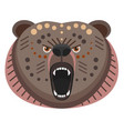 roaring bear head logo decorative emblem vector image vector image