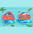 seafood logos on blue wooden background vector image