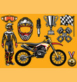 set of high detailed motocross racing element vector image vector image