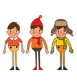 set of seasonal clothes for boy vector image