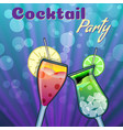 summer cocktails party banner invitation flyer vector image vector image