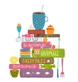 Tea Drinking Eating Pastry and Reading Books Cosy vector image