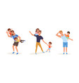 tired fathers and their children set stressed vector image vector image