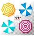 top view colorful beach umbrellas set vector image