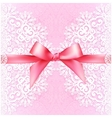 Vintage wedding card template with pink bow vector image