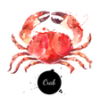 Watercolor hand drawn crab Isolated fresh seafood vector image vector image