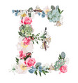 watercolor style floral monogram letter e vector image