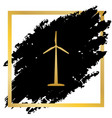 wind turbine logo or sign golden icon at vector image vector image
