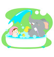 little girl take a bath with elephant in tub vector image