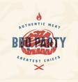 bbq party vintage label card emblem or vector image