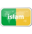 islam Flat web button icon World map earth icon vector image