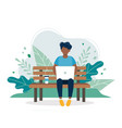 black man with laptop sitting on bench in vector image vector image