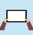 blank tablet hand toches screen flat design vector image