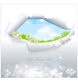 blue sky in torn paper vector image vector image