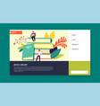 book library online literature web page template vector image vector image