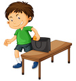 Boy stealing things from purse vector image vector image