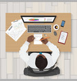Business workplace Top view of businessman vector image vector image